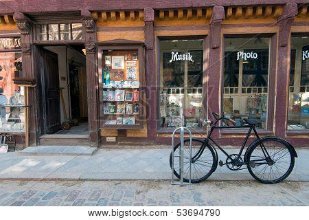 Vintage bike in the Old Town of Aarhus, Denmark