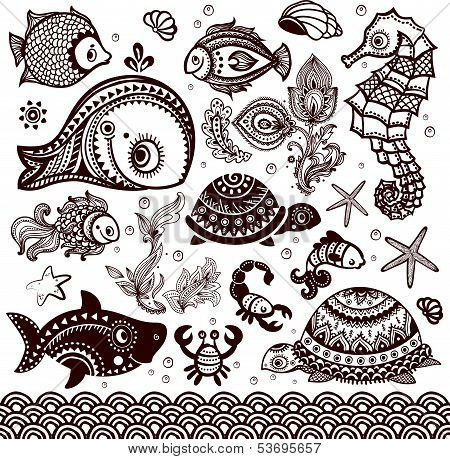 Vector set of fish, shells and flowers with ornaments