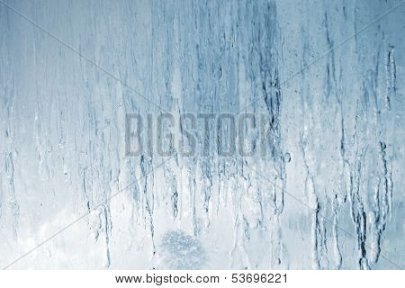 Background Texture Of Big Blue Natural Ice Block With Back Light