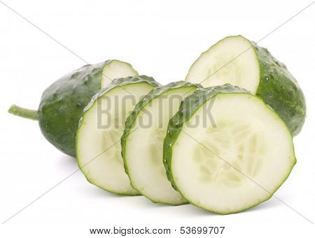 Sliced cucumber vegetable isolated on white background cutout