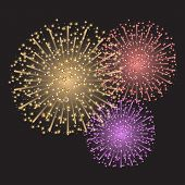 stock photo of guy fawks  - Beautiful colorful sparkling fireworks on dark gray background - JPG
