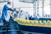 stock photo of assembly line  - drinks production plant in China - JPG