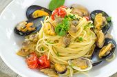 stock photo of clam  - dish of italian pasta stuffed with mussels and clams - JPG