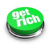 stock photo of raffle prize  - A green button with the words Get Rich on it - JPG