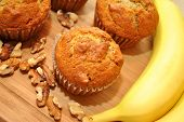 image of walnut  - Yummy Banana Walnut Muffins with Fresh Ingredients - JPG