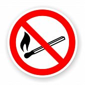 image of cigarette lighter  - sticker of no fire sign with shadow - JPG