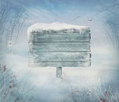 image of frozen  - Winter design background - Christmas valley with sign for copyspace. Wooden sign in snow valley with woods tree rabbit holly and bird. Space for your winter text.