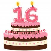 stock photo of sweet sixteen  - Sweet Sixteen Birthday Cake with Numeral Candles Isolated - JPG