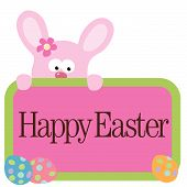 stock photo of easter bunnies  - Illustration of Easter bunny holding sign vector - JPG