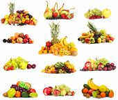 stock photo of abundance  - Collage of fruits isolated on white - JPG