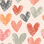 stock photo of leopard  - Bright romantic seamless pattern made of colorful hearts in vector - JPG