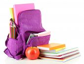 pic of knapsack  - Purple backpack with school supplies isolated on white - JPG