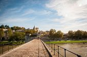 foto of avignon  - Bridge Saint Benezet with Avignon city behind Avignon France - JPG