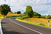 foto of plowed field  - Winding Paved Road between Autumn Plowed Fields in the Tuscany - JPG