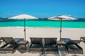 image of boracay  - Beach umbrellas and loungers on perfect white beach Boracay Philippines - JPG