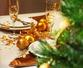 stock photo of banquet  - Photo of luxury Christmastime table setting - JPG