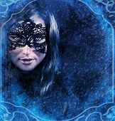 pic of snow queen  - Closeup portrait of gorgeous snow queen in snowy night looking through window - JPG