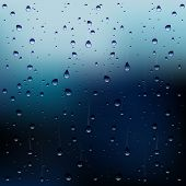 picture of steamy  - Abstract Vector Illustration of Raindrops On a Window - JPG