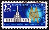 Postage Stamp Gdr 1972 Russian Pavilion And Fair Emblem