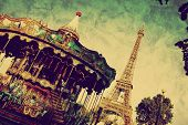 stock photo of merry-go-round  - Eiffel Tower and vintage carousel - JPG