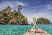 picture of nic  - Railay beach in Krabi Thailand with blue sea and boat - JPG