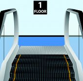 stock photo of movable  - Escalator stairs - JPG