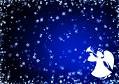 image of christmas angel  - Christmas blue background with snowflakes and angel - JPG