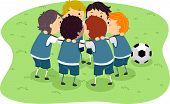 Illustration of Little Boys in a Soccer Game Huddled Together