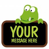 foto of gator  - Isolated gator holding sign in vector format - JPG
