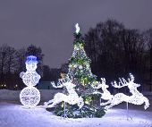 Electric Decorations And Christmas Tree, Moscow