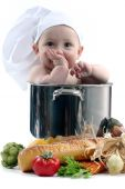 Baby In A Chef Pot On White Background. Image Is Soft poster