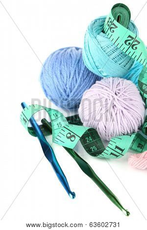 Balls of wool isolated on white