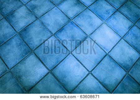 Background Surface Of Blue Tiles