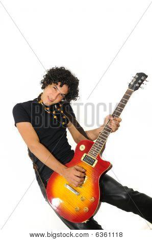 Trendy Hispanic Guy Playing Electric Guitar