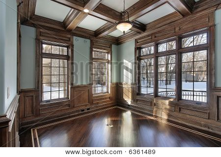 Library With Wood Ceiling Beams