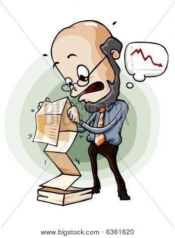 Pánico en el informe de la venta. Serie de dibujos animados