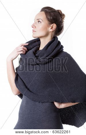 Thoughtful Woman Wearing Turtleneck
