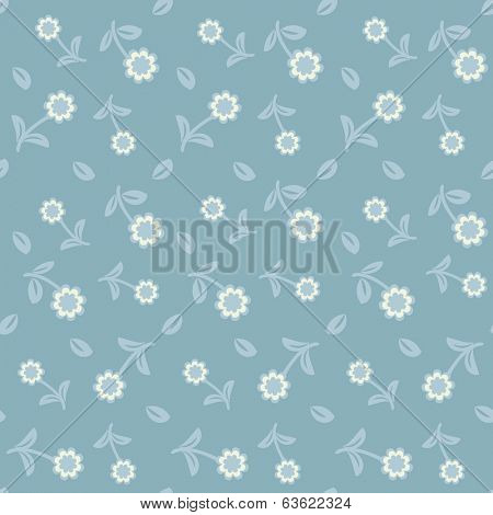 Seamless vector pattern from small flowers  on blue background