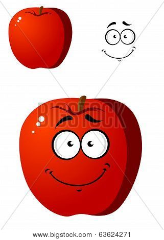 Cartoon smiling happy red apple fruit