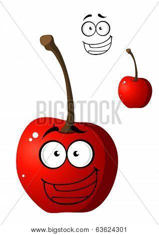 Ripe red happy little cartoon cherry