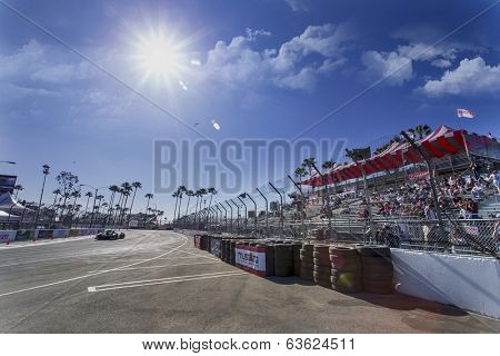 Long Beach, CA - Apr 11, 2014:  The Extreme Motorsports Honda car practices through the turns at the TUDOR United SportsCar Championship of Long Beach at Grand Prix of Long Beach in Long Beach, CA.