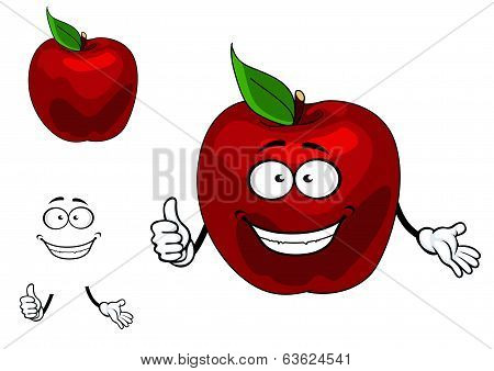 Happy red cartoon apple fruit