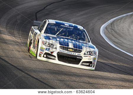 Fort Worth, TX - Apr 04, 2014:  Jimmie Johnson (48) brings his race car through the turns during a practice session for the Duck Commander 500 at Texas Motor Speedway in Fort Worth, TX.