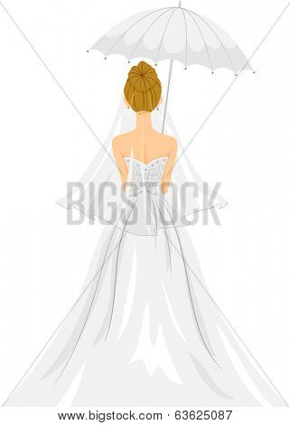 Back View Illustration of a Lovely Bride in Her Wedding Gown Standing Under a White Umbrella