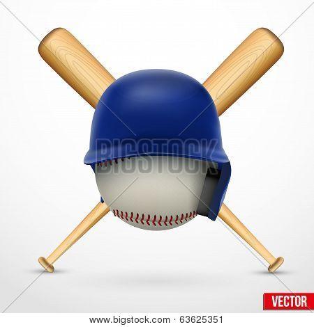 Symbol of a baseball. Helmet, ball and two bats. Vector.