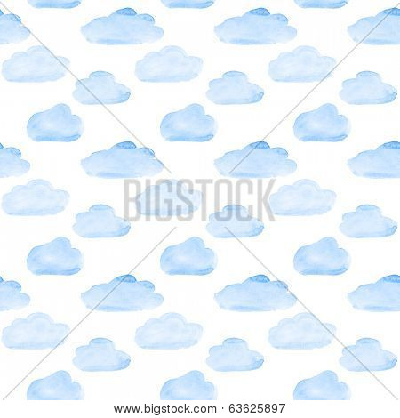 Blue watercolor clouds seamless pattern