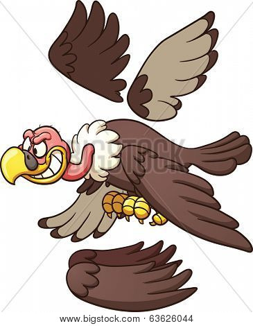 Cartoon vulture ready for animation. Vector clip art illustration with simple gradients. Each part on a separate layer.