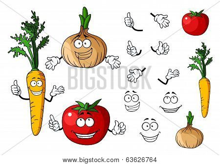 Carrot, tomato and onion vegetables