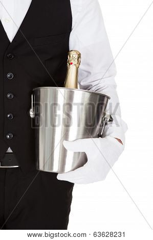 Waiter Holding A Wine Cooler