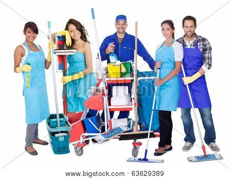 Group Of Proffesional Cleaners